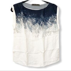 ZARA Basic Blue and white Faux Feathered Top